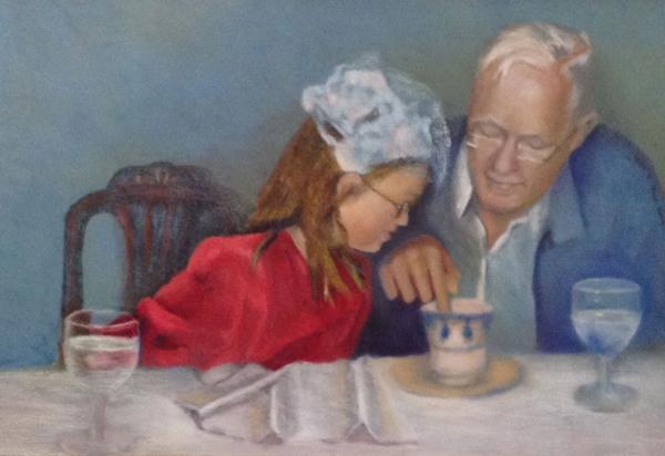 Monica & Grandpa - Pastel by Joyce Van Horn