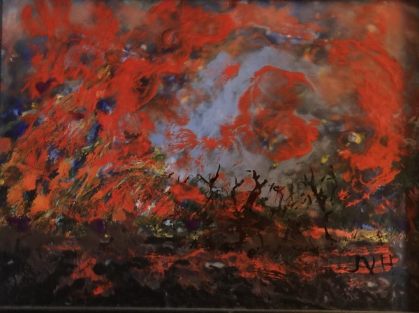 Flaming Trees Encaustic Wax - Framed by Joyce Van Horn $340