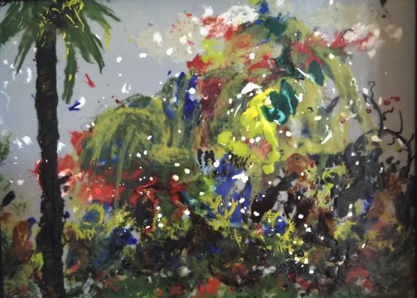 Encaustic Wax Framed - Snow Falls in St. Pete by Joyce Van Horn $340