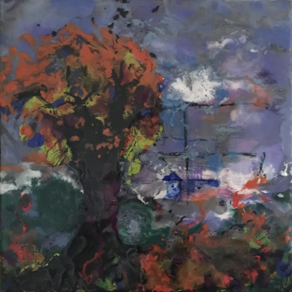 ENCAUSTICS - THE FIERCE FAT TREE $200 by Joyce Van Horn